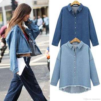 New Fashion Spring Autumn Vintage Denim Jackets Women's Jeans Coat Ladies Jean Tops For Girls Outwear