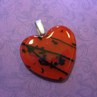 Heart Pendant, Red Black Heart, Couples Jewelry, Heart Jewelry - Lover - 4253 -1