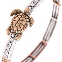 ETCHED TURTLE CRYSTAL ACCENT STRETCH BRACELET