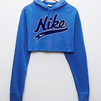 Retro Gold Nike Blue Pullover Hoodie - Womens Hoodie - Blue - One