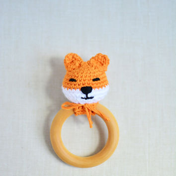 Fox Teething Ring for Babies - Organic Maple Wood Teething Ring - Teether Toy