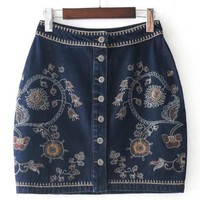 Halle Denim Embroidered Skirt