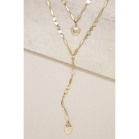 Shell Layered Drop Necklace in Gold