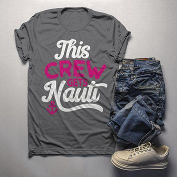 Men's Bridal Party T Shirt Crew Gets Nauti Funny Bachelorette Party Shirts Nautical Anchor Tee