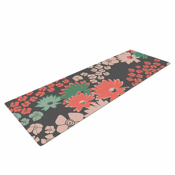 "Zara Martina Mansen ""Natures Bouquet"" Coral Green Yoga Mat"