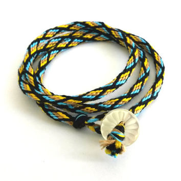 Kumihimo Wrap Friendship Bracelet -Yellow, Beige and Blue Diamonds Pattern