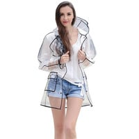 EVA Transparent Raincoat Clear Rainwear  Hooded Outdoor Touring Rain Coat