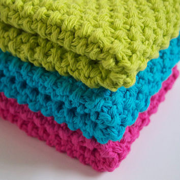 hand knit plushy cotton washcloths, set of three in hot green, aqua blue and fuschia
