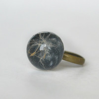 Real dandelion ring - dandelion seeds in a resin lens - nature botanical jewelry - real flower ring - ecostyle jewelry - ring -r0018