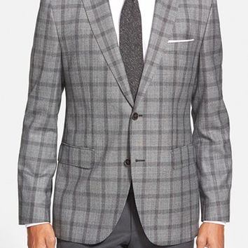 BOSS 'Jayden' Trim Fit Plaid Wool Sport Coat,