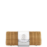 Tory Burch Rattan Straw Metallic Clutch Bag
