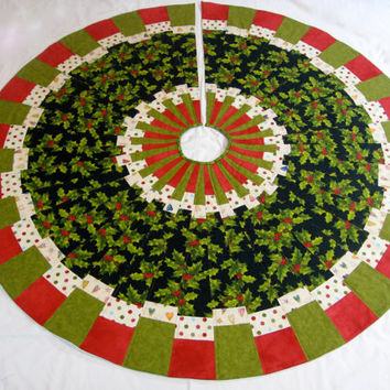 Christmas Tree Skirt Traditional Patchwork Quilted Ready to Ship