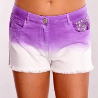 Purple White Gradient Printed Shorts