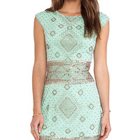renzo + kai Embellished Cap Sleeve Dress in Mint