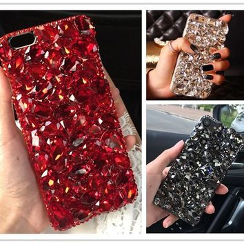Dower Me Bling Crystal Red Black Diamond Case For Iphone 7 6 6S Plus 5S 4S Samsung Galaxy Note 5 4 3 2 S8 S7 S6 Edge Plus S5/4/3