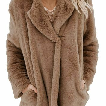 Brown Pocket Style Fluffy Winter Coat