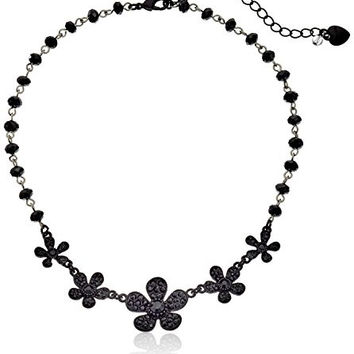 "Betsey Johnson ""Pitch Black"" Pave Flower Necklace, 15"""