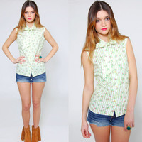 Vintage 60s Sleeveless FLORAL Top Green Striped Ascot Top Pussy Bow Retro Blouse