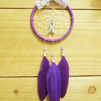 Purple Awareness Ribbon Dreamcatcher: Domestic Violence Survivor, Car Accessory, Cystic Fibrosis Awareness, Epilepsy Awareness, Cancer