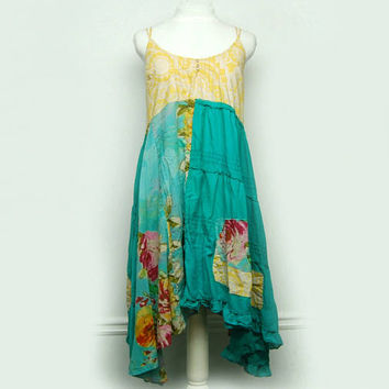 Medium Hippie Boho Chic Festival Dress, Funky Artsy Colorful SunDress, Bohemian Eco Upcycled Clothing by Primitive Fringe