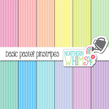 Pastel Stripe Digital Paper – pastel scrapbook paper with a pinstripe pattern in pink, peach, yellow, mint, blue, & purple - commercial use