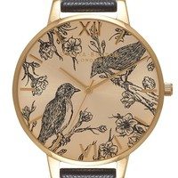 Olivia Burton 'Animal Motif' Leather Strap Watch, 38mm | Nordstrom
