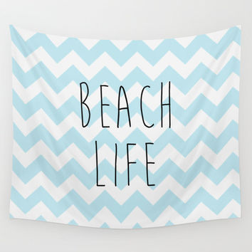 Wall Tapestry, Beach Life, Chevron, Blue, California Wall Art, Home Decor, Beach House