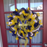 Michigan Wolverine Navy and Yellow Deco Mesh Door Wreath