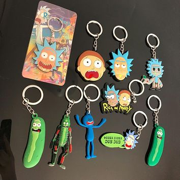 Rick and Morty Pickle Figure Toys Keychain Happy Sad Foamy Caddy Mr Meeseeks Summer Jerry Smith PVC Dolls Bag Pendants Juguetes