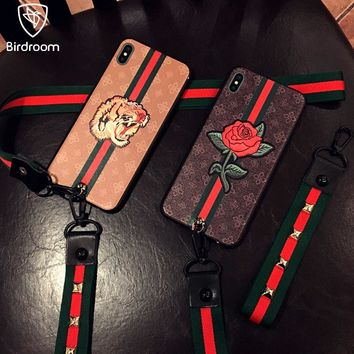 Birdroom Phone Case For iPhone 8 7 6 6S Plus Soft TPU Retro 3D Relief Panting Coque For iPhone X 10 Full Fit Cover +2Pcs Lanyard