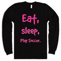 eat, sleep, play soccer-Unisex Black T-Shirt