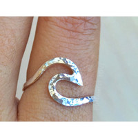 Wave Ring, Nalu Ring, silver wave ring, gold wave ring