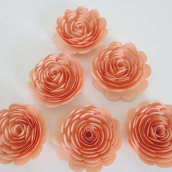 "Pretty Peach Roses, Set of 6, Big 3"" Handmade Paper Flowers, Baby Shower Table Decor, Wedding Decorations, Event Planning Decorating Ideas"