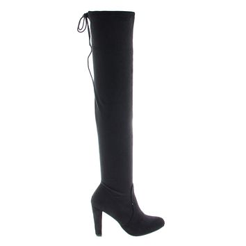 Donnie By Bonnibel, OTK Over Knee High Heel Dress Boots w Slouchy Pull Up Laced Shaft