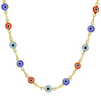 14k Gold Plated Multicolor Greek Evil Eye Protection Necklace for Women 17""