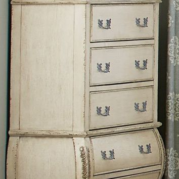 5 Drawer Wooden Chest In Traditional Style, Distressed White