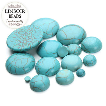 10pcs lot 6-30mm Flatback Round Natural Stone Cabochon Beads Green Turquoise Bead For Rings Pendant Base Jewelry Finding F1401