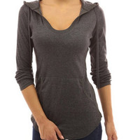 Hooded Irregular Hems Tops