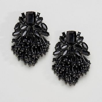 ASOS Jet Bead Tassel Earrings at asos.com