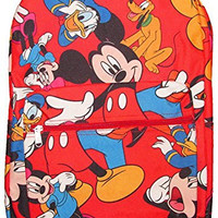 """Disney Mickey Mouse & The Gang Backpack 16"""" with Laptop Sleeve Red"""