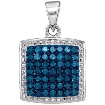 Blue Diamond Micro-pave Pendant in 10k White Gold 0.5 ctw