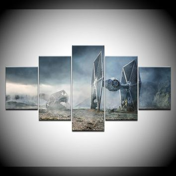 5 Panel Movie Star Wars TIE fighter Imperial fleet HD Printed Wall Art Canvas