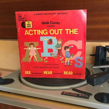 Vintage 1967 Acting Out the ABCs by Disneyland Records - Story Book and Vinyl Record / Walt Disney Productions