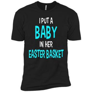 Funny Pregnancy Announcement Dad Easter Baby Announcement Next Level Premium Short Sleeve Tee