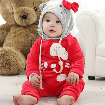 Baby velvet hoodie children's cartoon printing hat outfits kids' sports suit sweater + pants clothing set retail free shipping