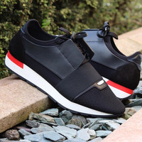 Balenciaga Men Black/Red  Race Runner Sneakers