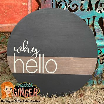 "Why Hello ""Guestbook"" Wooden Door Hanger or Wall Decor"