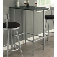Monarch Specialties 2335 Black Top Spacesaver Bar Table in Silver
