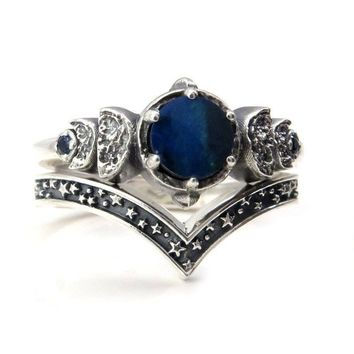 Dark Blue Boulder Opal Moon Phase Sterling Silver Ring with Sapphires and Stardust Chevron Wedding Band
