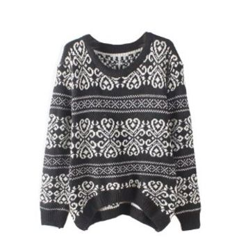 Waltzmart Women's Geometric Knitted Sweater Casual Loose Jumper Pullover Tops